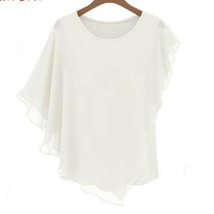 Flounced short-sleeved T-shirt