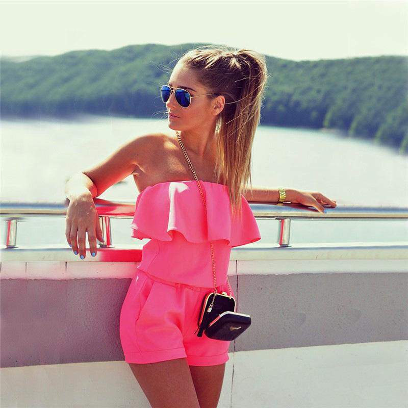 Womens Pure Color Sleeveless Folder Off Shoulder Short Pants Jumpsuit