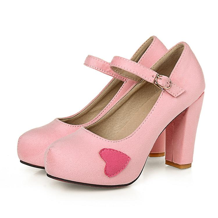 Pumps Women College Style Platform Solid Round Toe Thick High Heels