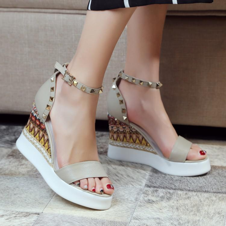 Womens Rivet Wedge Platform Open Toe High Heel Sandals