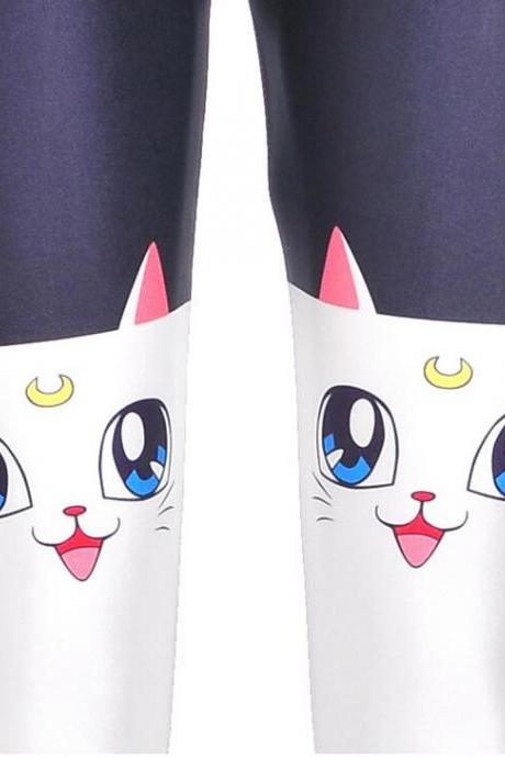 Cute Sailor Moon Cat Mitten Printed Slim Leggings Pants Long Tights