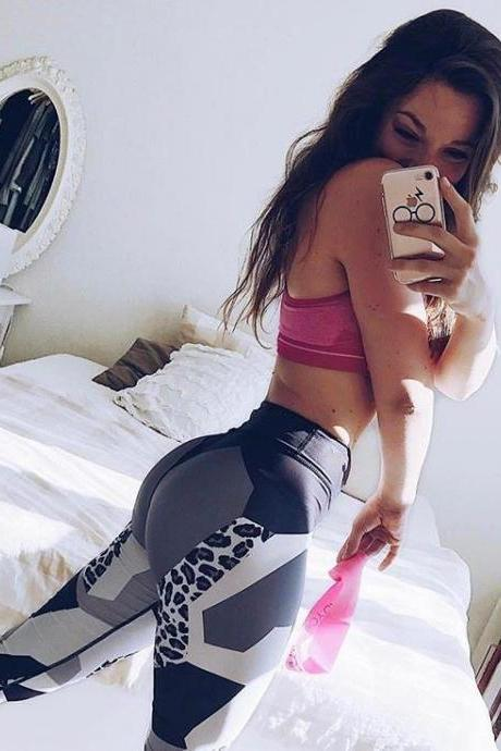 Womens Hot Sale Leopard And Block Patchwork Elastic Yoga Sport Running Brethable Pants