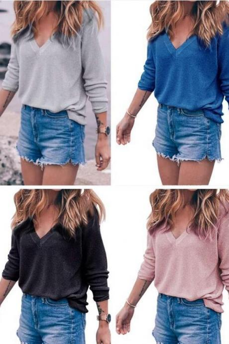 Knit Plunge V Long Sleeves Sweater