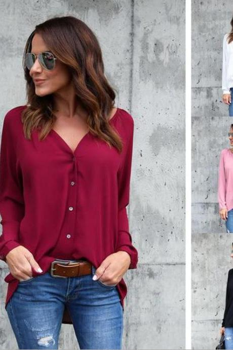 Womens Long Sleeve Pure Color Loose Chiffon Blouse
