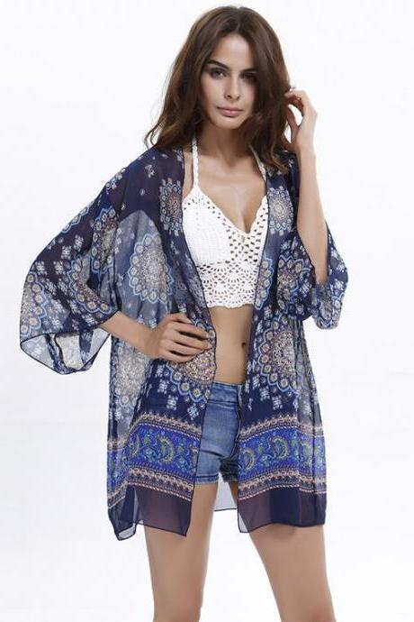 Womens Flower Printed Beach Blouse Cover-up