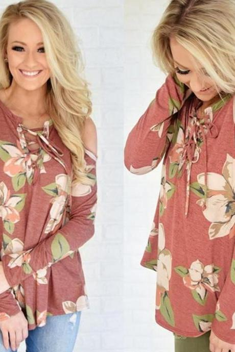 Long Sleeve Floral Printed Cold Shoulder Top with Lace-Up Front