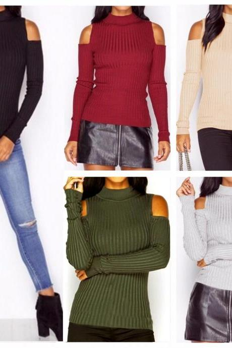 Hot Sale Womens Loose Casual Long Sleeved Off Shoulder Solid Knit Sweater