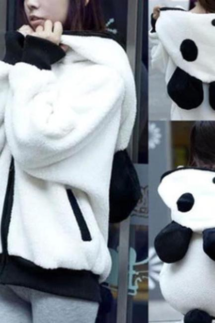 white Lovely Panda Super Adorable Cardigan Sweater