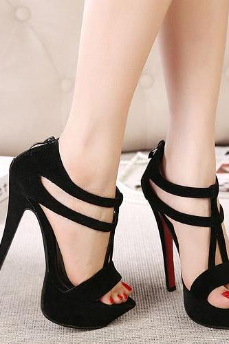 Sexy Black T Strap High Heel Fashion Sandals