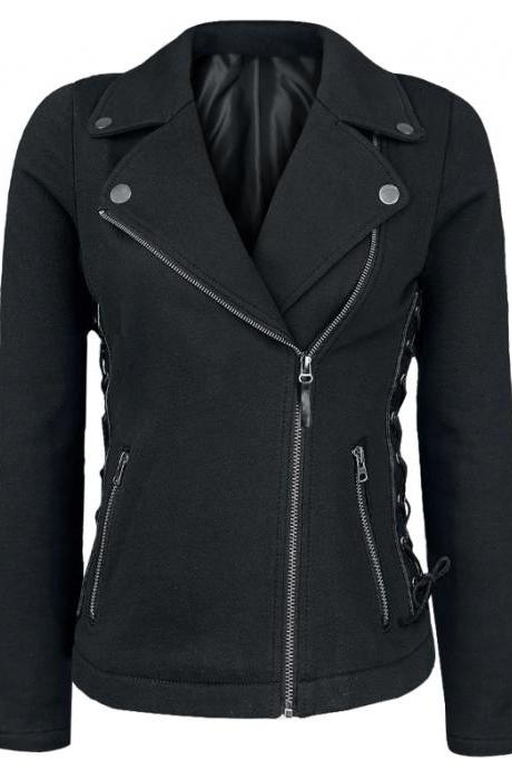 Punk wind oblique zipper stitching coat