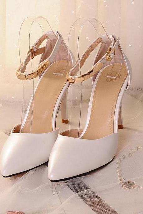 Women's Pure Color High Heel Thin Heel Band Pumps