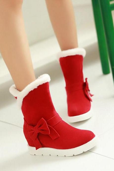 Women's Pure Color Flat Heel Inside Heighten Bowknot Suede Boots