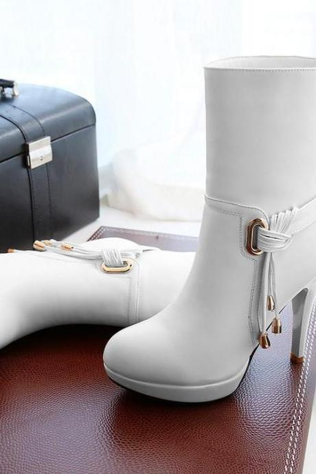 Women's Pure Color Stiletto High Heel Platform Boots