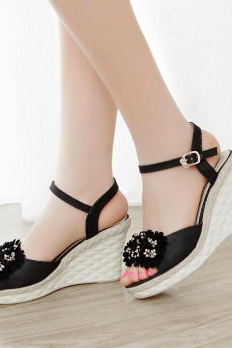 Women's Sweet Fashion Leasure Wedge-soled Shoes With Flower Decoration