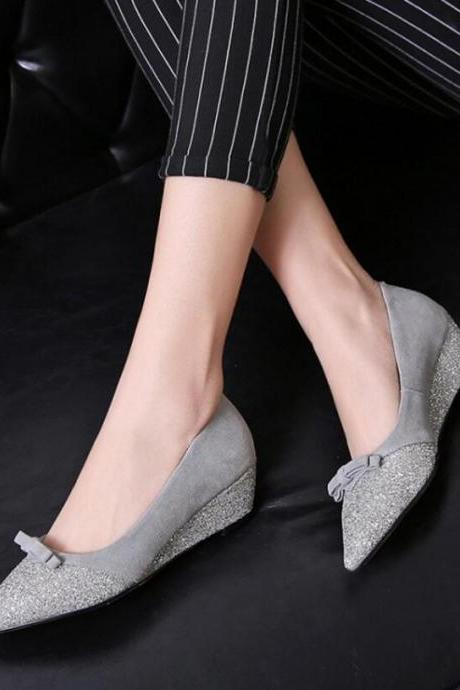 Women's Cute Solid Wedge Heel Shoes Suede Court Shoes With Bowknot