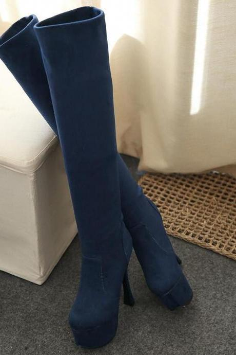 Knee High Boots Women High Quality Sexy Stilettos Simple Fashion Solid Color