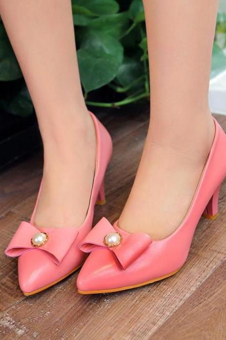 Pumps Women Fashion Bow Metal Decoration Solid Pointed Toe Thin Heel