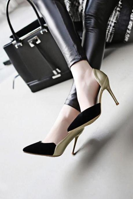 Pumps Women Sexy Hollow Mixed Colors Pointy Toe Thin High Heel Stiletto