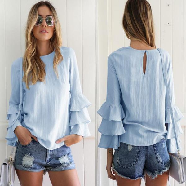 Blouse Women Casual Loose Solid Fold Sleeve