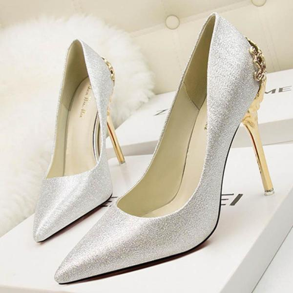 Glitter Pointed-Toe High Heel Stilettos Featuring Gold Metal Encrusted Filigree