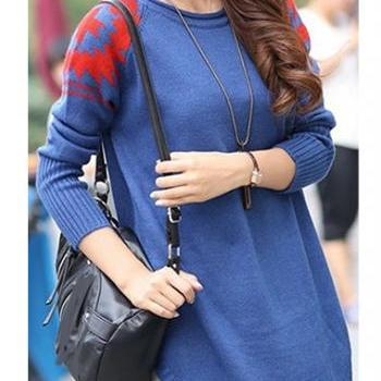 New Style Round Neck Long Sleeve Sweater Pullover - Blue