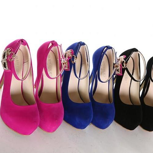 Women's Pure Color High Heel Suede Band Brogue Pumps