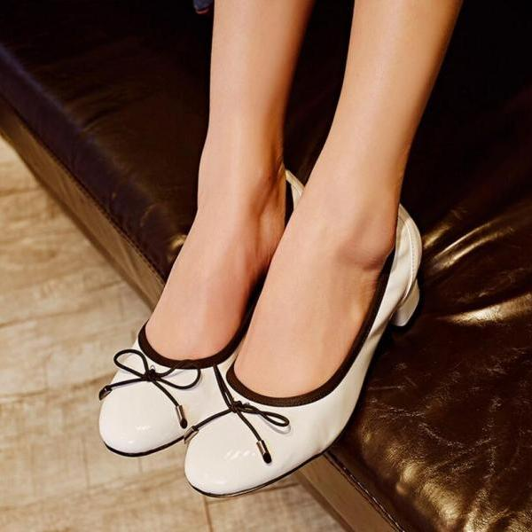 Women's 2016 Patent Leather Block Heel Shoes Court Shoes With Bowknot